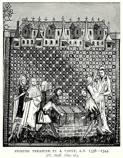 Storing Treasure in a Vault, AD 1338 – 1344. Illustration from A Short History of the English People by JR Green (Macmillan, 1892).