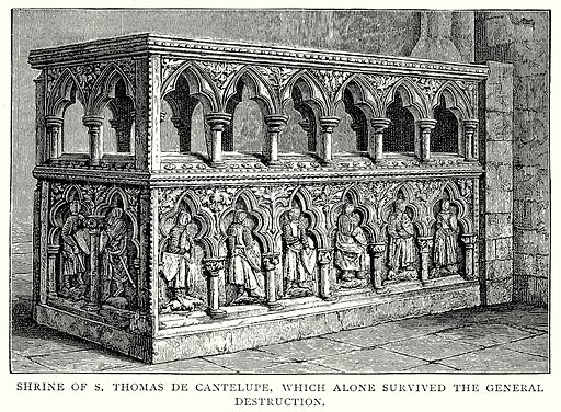 Shrine of S. Thomas de Cantelupe, which alone survived the General Destruction. Illustration from A Short History of the English People by J R Green (Macmillan, 1892).