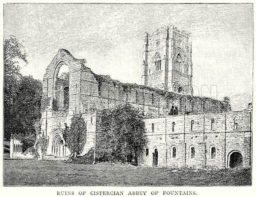 Ruins of Cistercian Abbey of Fountains. Illustration from A Short History of the English People by J R Green (Macmillan, 1892).