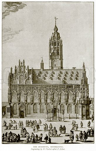 The Stadhuys, Middelburg. Illustration from A Short History of the English People by J R Green (Macmillan, 1892).
