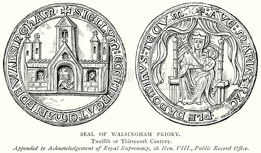 Seal of Walsingham Priory. Illustration from A Short History of the English People by J R Green (Macmillan, 1892).