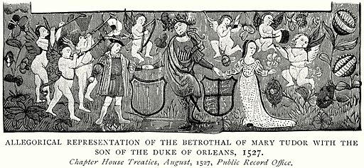 Allegorical representation of the Betrothal of Mary Tudor with the Son of the Duke of Orleans, 1527. Illustration from A Short History of the English People by J R Green (Macmillan, 1892).