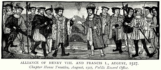 Alliance of Henry VIII and Francis I, August, 1527. Illustration from A Short History of the English People by J R Green (Macmillan, 1892).