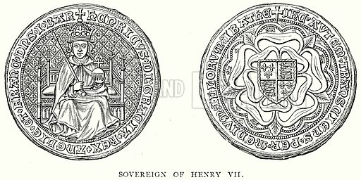 Sovereign of Henry VII. Illustration from A Short History of the English People by J R Green (Macmillan, 1892).