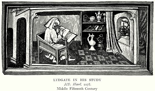 Lydgate in his Study. Illustration from A Short History of the English People by J R Green (Macmillan, 1892).