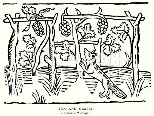 Fox and Grapes. Illustration from A Short History of the English People by JR Green (Macmillan, 1892).
