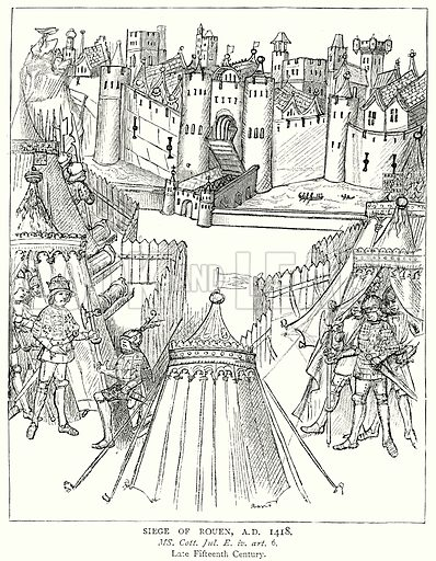 Siege of Rouen, AD 1418. Illustration from A Short History of the English People by JR Green (Macmillan, 1892).