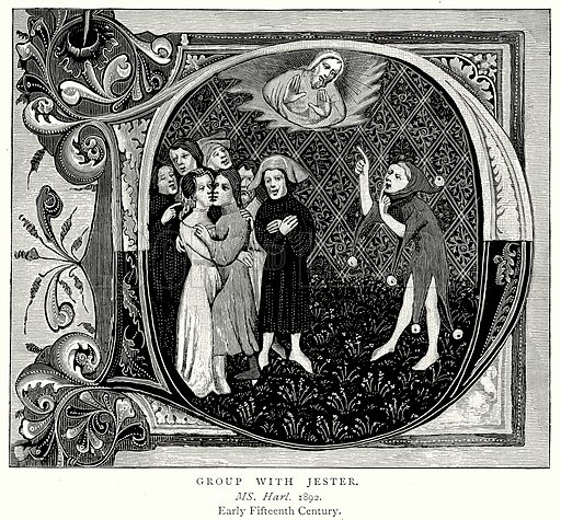 Group with Jester. Illustration from A Short History of the English People by J R Green (Macmillan, 1892).