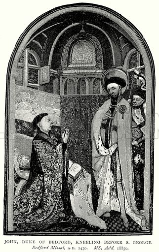 John, Duke of Bedford, kneeling before S. George. Illustration from A Short History of the English People by J R Green (Macmillan, 1892).