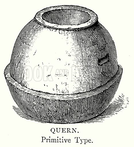 Quern. Illustration from A Short History of the English People by J R Green (Macmillan, 1892).