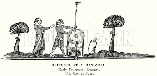 Grinding at a Handmill. Illustration from A Short History of the English People by J R Green (Macmillan, 1892).