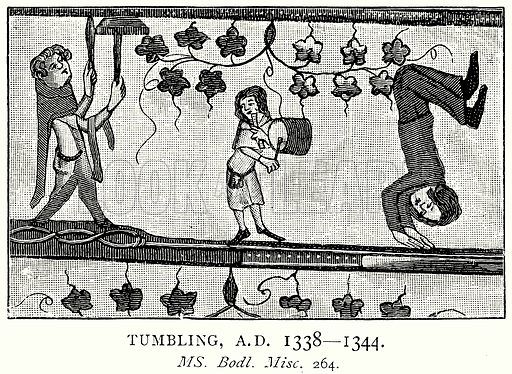 Tumbling, A.D. 1338--1344. Illustration from A Short History of the English People by J R Green (Macmillan, 1892).