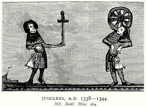 Jugglers, AD 1338 – 1344. Illustration from A Short History of the English People by JR Green (Macmillan, 1892).