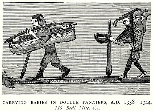 Carrying Babies in double Panniers, AD 1338 – 1344. Illustration from A Short History of the English People by JR Green (Macmillan, 1892).