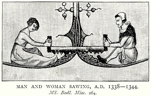 Man and Woman Sawing, A.D. 1338--1344. Illustration from A Short History of the English People by J R Green (Macmillan, 1892).