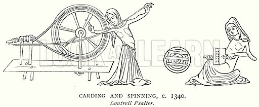 Carding and Spinning, c 1340. Illustration from A Short History of the English People by JR Green (Macmillan, 1892).
