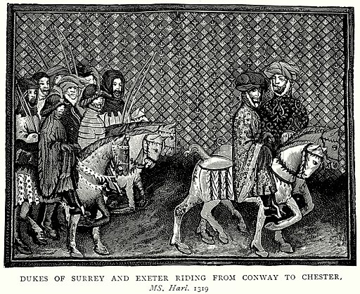 Dukes of Surrey and Exeter riding from Conway to Chester. Illustration from A Short History of the English People by JR Green (Macmillan, 1892).