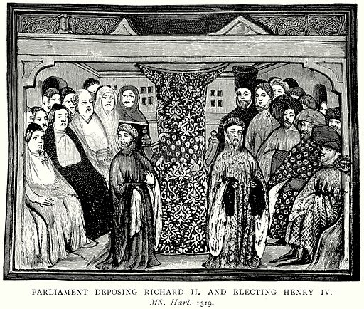 Parliament deposing Richard II and electing Henry IV. Illustration from A Short History of the English People by J R Green (Macmillan, 1892).