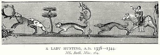 A Lady Hunting, AD 1338 – 1344. Illustration from A Short History of the English People by JR Green (Macmillan, 1892).