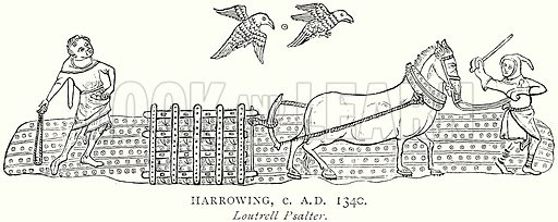Harrowing, c AD 1340. Illustration from A Short History of the English People by JR Green (Macmillan, 1892).