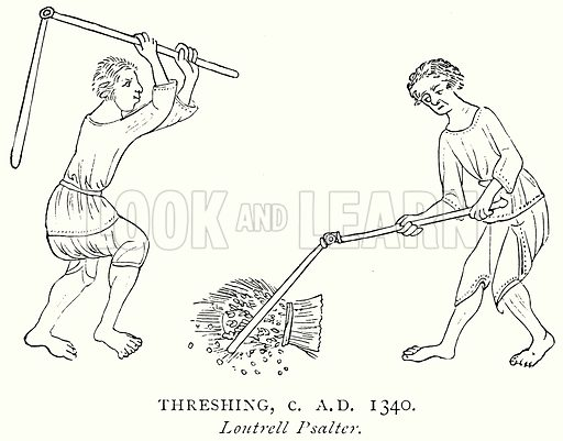 Threshing, c. A.D. 1340. Illustration from A Short History of the English People by J R Green (Macmillan, 1892).