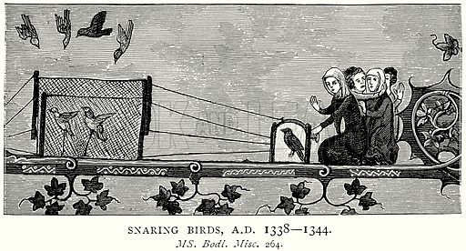 Snaring Birds, AD 1338 – 1344. Illustration from A Short History of the English People by JR Green (Macmillan, 1892).
