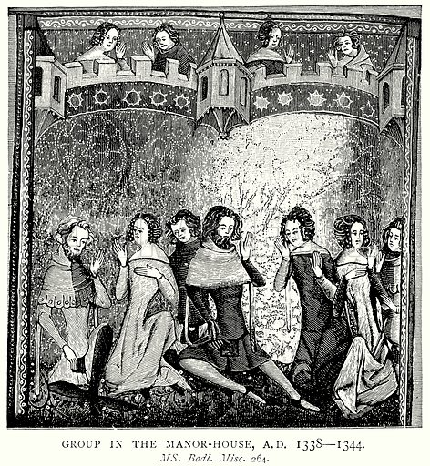 Goup in the Manor-House, AD 1338 – 1344. Illustration from A Short History of the English People by JR Green (Macmillan, 1892).