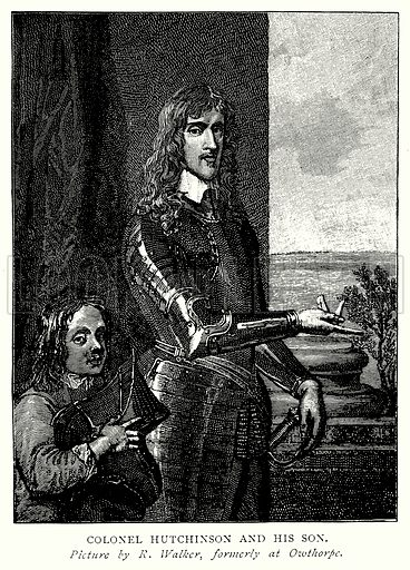 Colonel Hutchinson and his Son. Illustration from A Short History of the English People by J R Green (Macmillan, 1892).