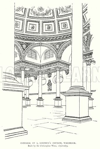 Interior of S. Stephen's Church, Walbrook. Illustration from A Short History of the English People by J R Green (Macmillan, 1892).