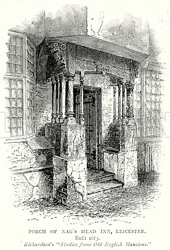 Porch of Nag's Head Inn, Leicester. Illustration from A Short History of the English People by J R Green (Macmillan, 1892).