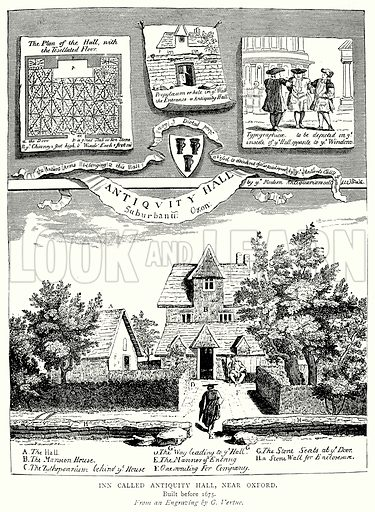 Inn called Antiquity Hall, near Oxford. Illustration from A Short History of the English People by JR Green (Macmillan, 1892).