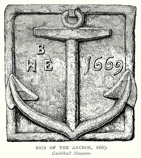 Sign of the Anchor, 1669. Illustration from A Short History of the English People by JR Green (Macmillan, 1892).