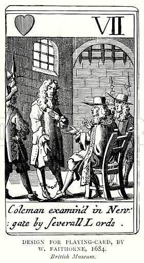Design for Playing-Card, by W Faithorne, 1684. Illustration from A Short History of the English People by JR Green (Macmillan, 1892).