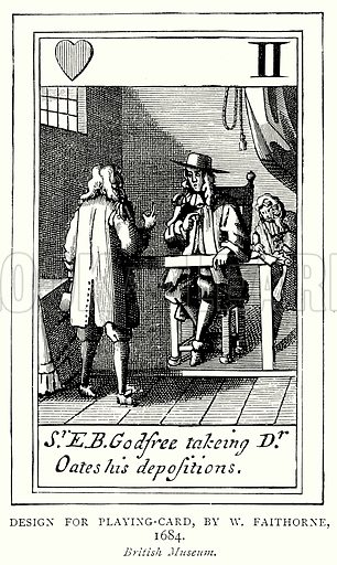 Design for Playing-Card, by Faithorne, 1684. Illustration from A Short History of the English People by J R Green (Macmillan, 1892).