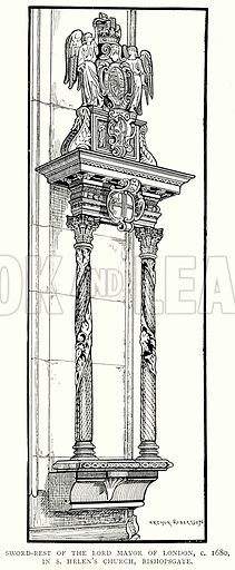 Sword-Rest of the Lord Mayor of London, c. 1680, in S. Helen's Church, Bishopsgate. Illustration from A Short History of the English People by J R Green (Macmillan, 1892).