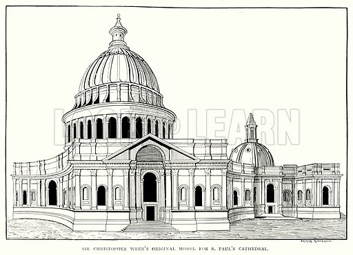 Sir Christopher Wren's Original Model for S Paul's Cathedral. Illustration from A Short History of the English People by JR Green (Macmillan, 1892).