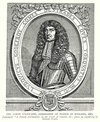 The Comte D'Estrades, Ambassador of France in England, 1661. Illustration from A Short History of the English People by J R Green (Macmillan, 1892).