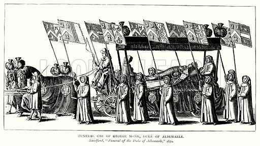 Funeral Car of George Monk, Duke of Albemarle. Illustration from A Short History of the English People by J R Green (Macmillan, 1892).