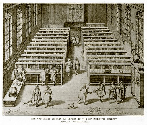 The University Library at Leyden in the Seventeenth Century. Illustration from A Short History of the English People by J R Green (Macmillan, 1892).
