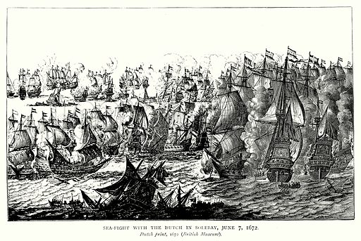 Sea-Fight with Dutch in Solebay, June 7, 1672. Illustration from A Short History of the English People by J R Green (Macmillan, 1892).