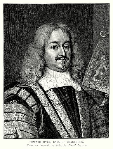 Edward Hyde, Earl of Clarendon. Illustration from A Short History of the English People by J R Green (Macmillan, 1892).