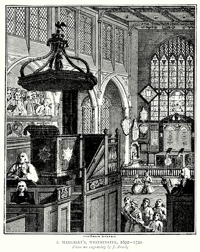S Margaret's, Westminster, 1692 – 1720. Illustration from A Short History of the English People by JR Green (Macmillan, 1892).