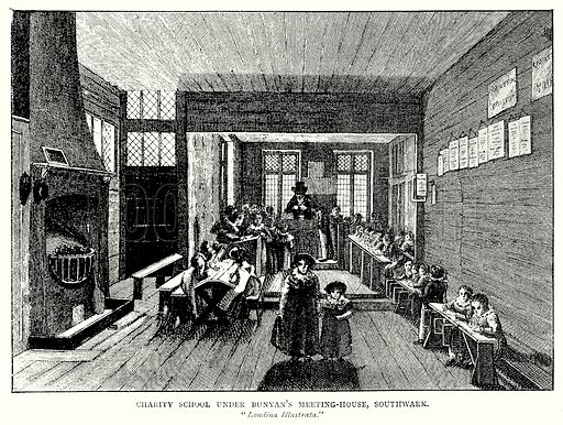 Charity School under Bunyan's Meeting-House, Southwark. Illustration from A Short History of the English People by J R Green (Macmillan, 1892).