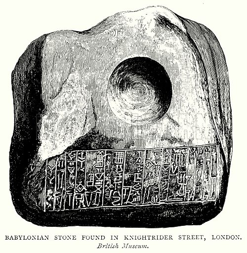 Babylonian Stone found in Knightrider Street, London. Illustration from A Short History of the English People by J R Green (Macmillan, 1892).
