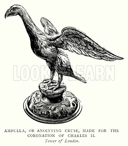 Ampulla, or Anointing Cruse, made for the Coronation of Charles II. Illustration from A Short History of the English People by J R Green (Macmillan, 1892).