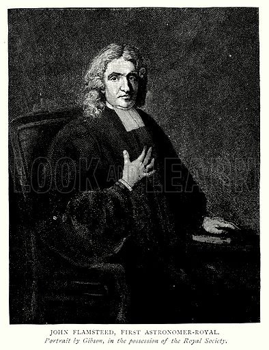 John Flamsteed, First Astronomer-Royal. Illustration from A Short History of the English People by J R Green (Macmillan, 1892).