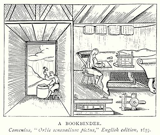 A Bookbinder. Illustration from A Short History of the English People by J R Green (Macmillan, 1892).