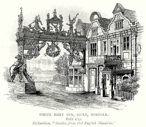 White Hart Inn, Scole, Norfolk. Illustration from A Short History of the English People by J R Green (Macmillan, 1892).