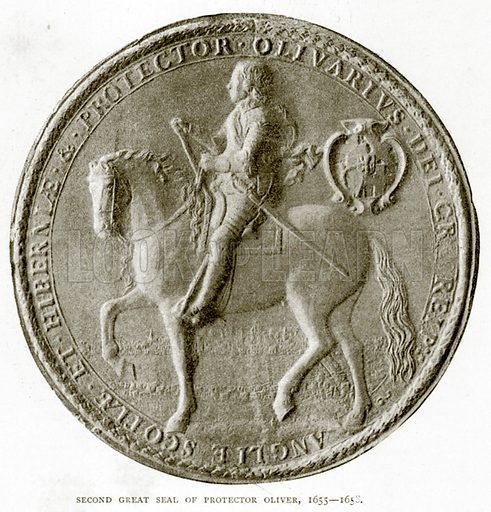 Second Great Seal of Protector Oliver, 1655--1658. Illustration from A Short History of the English People by J R Green (Macmillan, 1892).