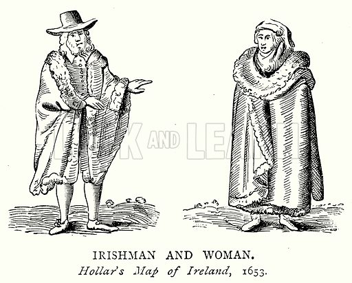Irishman and Woman. Illustration from A Short History of the English People by J R Green (Macmillan, 1892).